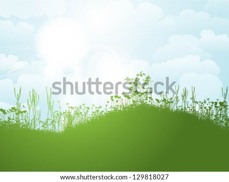 Nature background with blue sunny sky