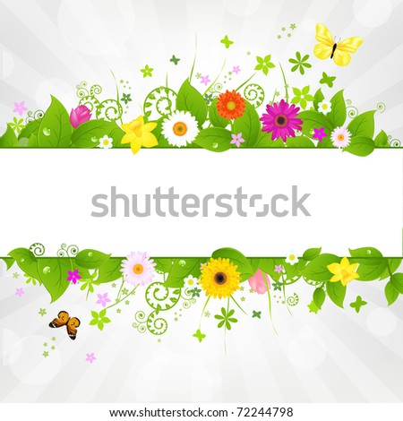 Nature Background With Flower And Butterflies, Vector Illustration