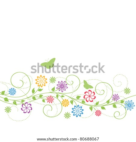 Nature background with flowers and butterflies. Vector illustration.