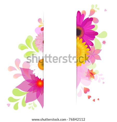Nature Background With Flowers, Isolated On White Background, Vector Illustration - stock vector
