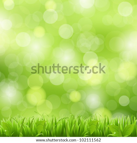 Nature Background With Grass And Bokeh, Vector Illustration