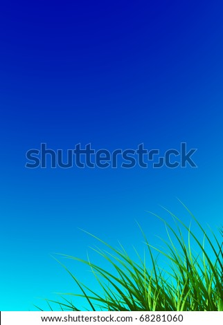 nature background with green grass and blue sky, vector illustration