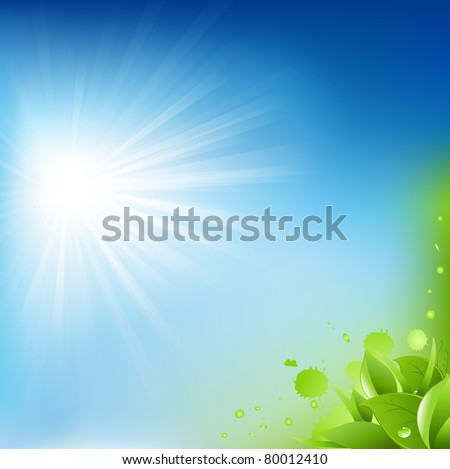 Nature Background With Leafs, Vector Illustration