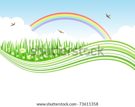 Nature background with meadow and rainbow. Vector  illustration.