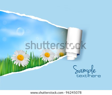 Nature background with ripped paper. Vector illustration. - stock vector
