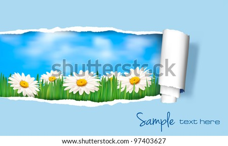 Nature background with ripped paper. Vector illustration.