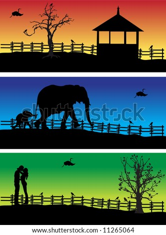 Nature banners, animals, peoples, vector illustration - stock vector