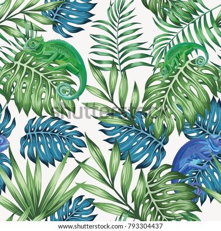 nature chameleon exotic blue