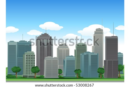 Nature city buildings