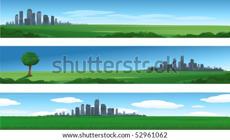 Nature cityscape backgrounds - stock vector