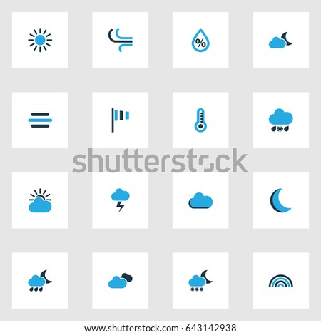 nature colorful icons set