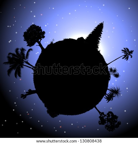 Nature concept : vector planet with plants in space