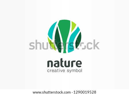 Nature creative symbol organic concept. Bio herbal health care abstract business eco logo. Fresh food, circle package, beauty flora, pharmacy icon. Corporate identity logotype, company graphic design