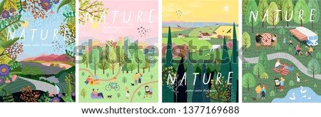 Nature. Cute vector illustration of landscape natural background, village, people on vacation in the park at a picnic, forest and trees. Drawings from the hand of summer and spring  #1377169688