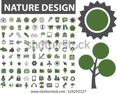 nature design icons set, vector