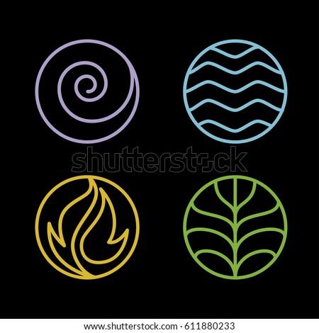 nature 4 elements circle line