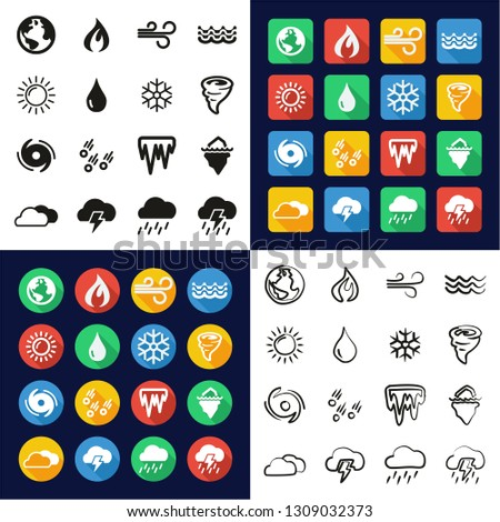 Nature Elements Icons All in One Icons Black & White Color Flat Design Freehand Set