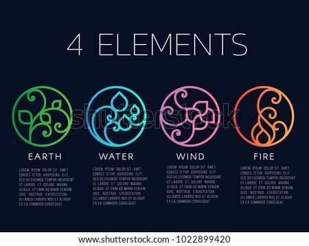 Nature 4 elements in Coil line border  abstract icon circle sign. Water, Fire, Earth, wind. vector design