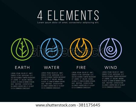 nature 4 elements logo sign