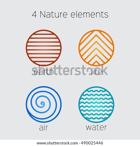 nature elements vector icons