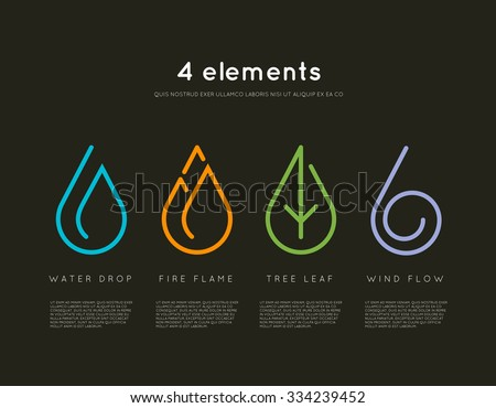 Nature elements. Water, Fire, Earth, Air. Infographic elements on dark background. Nature logo. Alternative energy sources. Fire line logo. Water line logo. Air line logo. Earth line logo. Eco logo