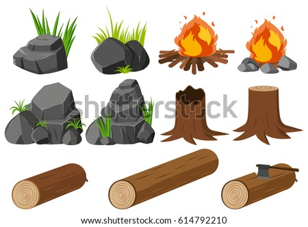 nature elements with rocks and