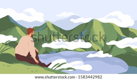Nature exploration and contemplation flat vector illustration. Man enjoying scenic mountain landscape. Searching new horizons. Explorer cartoon character. Outdoor activity, discovery. Photo stock ©
