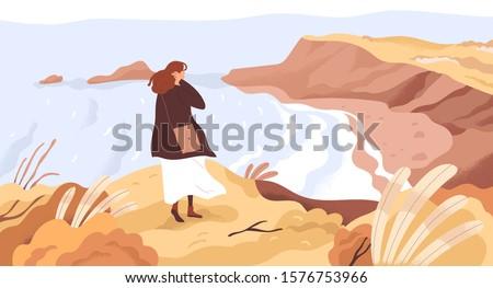 Nature exploration flat vector illustration. Dreamy woman enjoying scenic landscape. New horizons discovery concept. Girl at river coast cartoon character. Outdoor activity, autumn walk.