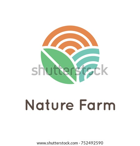 Nature Farm logo design with sun, leaf and water