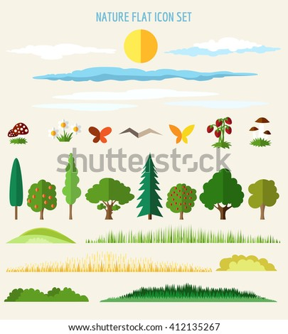 nature flat icons eco life