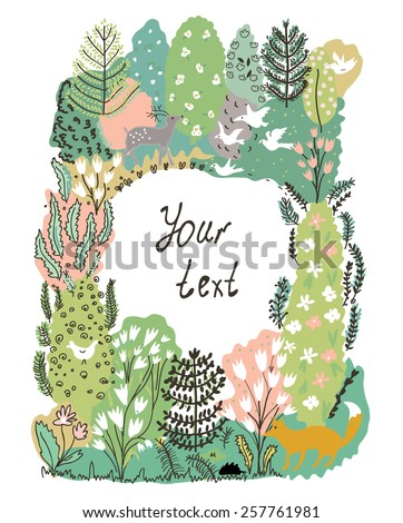 Nature frame with trees, animal and birds - forest illustration