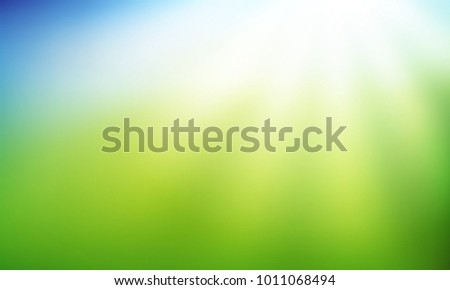 Nature Gradient Backdrop With Bright Sun Rays Abstract Green And Blue Blurred Background Ecology