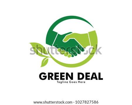 nature green deal handshake vector logo design for nature friend community, biology labs