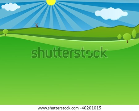 Nature Green landscape with blue sky for website background