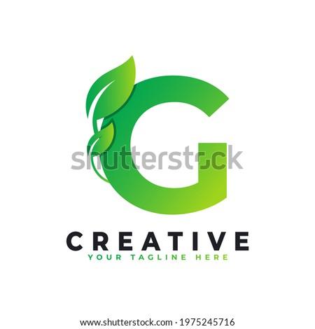 Nature Green Leaf Letter G Logo Design. monogram logo. Green Leaves Alphabet Icon. Usable for Business, Science, Healthcare, Medical and Nature Logos Photo stock ©