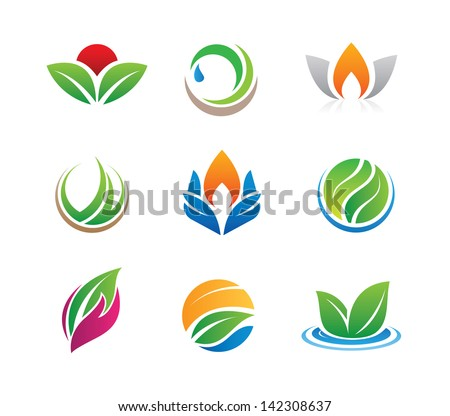 Nature green mother fruit logo icons