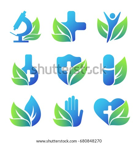 Nature health care emblems collection. Conceptual medical icons.