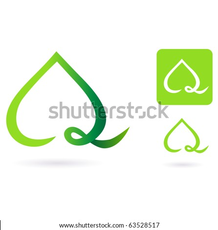Nature heart leaf icon. Vector Illustration of heart shaped green leaf.