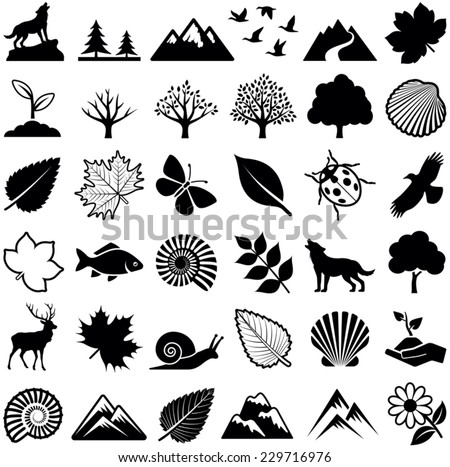 nature icon collection   vector