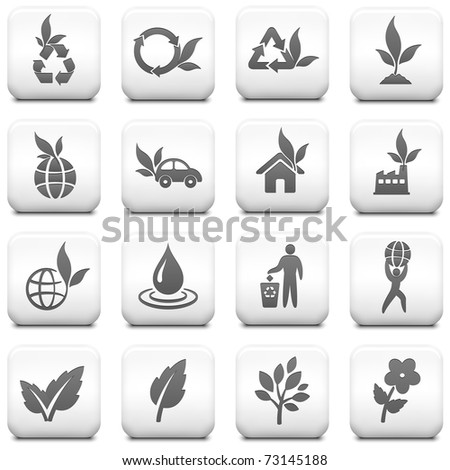 Nature Icon on Square Black and White Button Collection Original Illustration