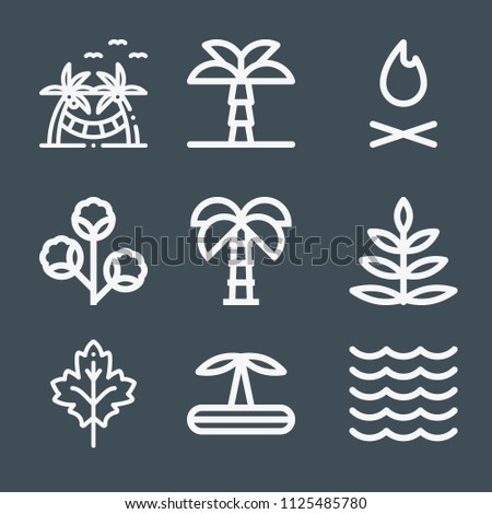 nature icon set   outline