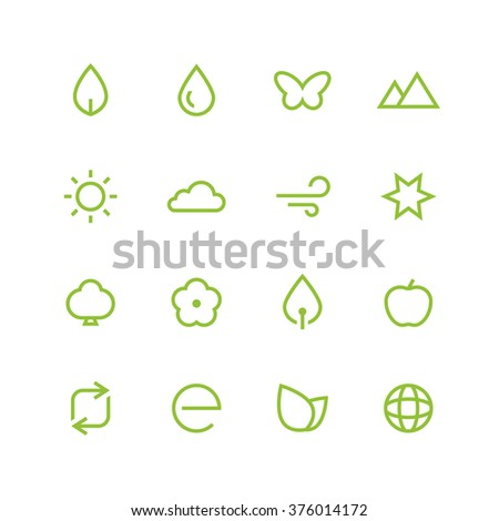 Nature icon set - vector minimalist. Different symbols on the white background.
