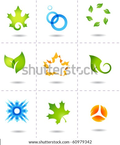 nature icons autumn leafs