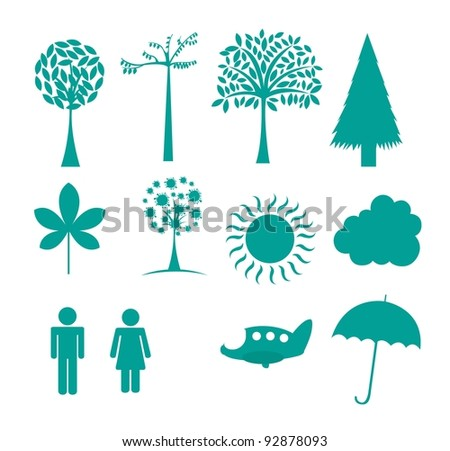 nature icons isolated over white background. vector illustration