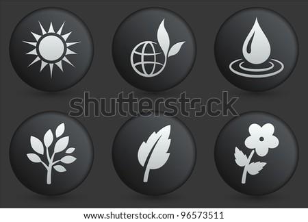 Nature Icons on Black Internet Button Collection Original Illustration