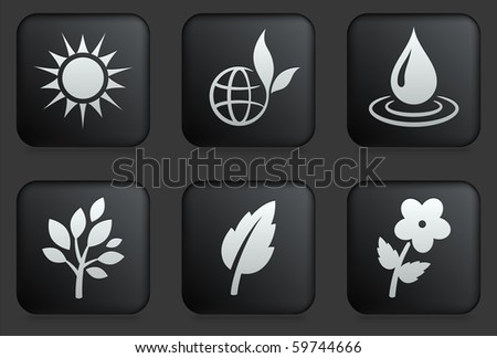 nature icons on square black