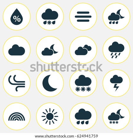 nature icons set collection of