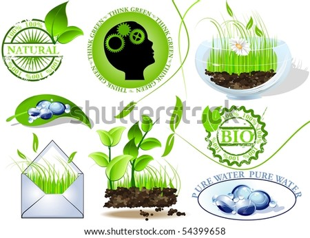 Nature icons set, eco and bio message