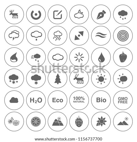 Nature icons set - environment ecology element - eco plant sign and symbols