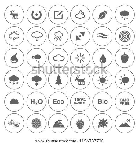 Nature icons set - environment ecology element - eco plant sign and symbols